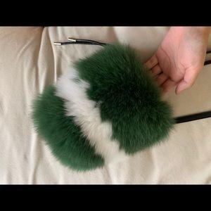 Rabbit Fur Shoulder bag green and white